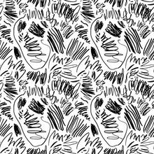 Ink Pen Scribbles Vector Seamless Pattern. Chaotic Black Scrawls Texture.