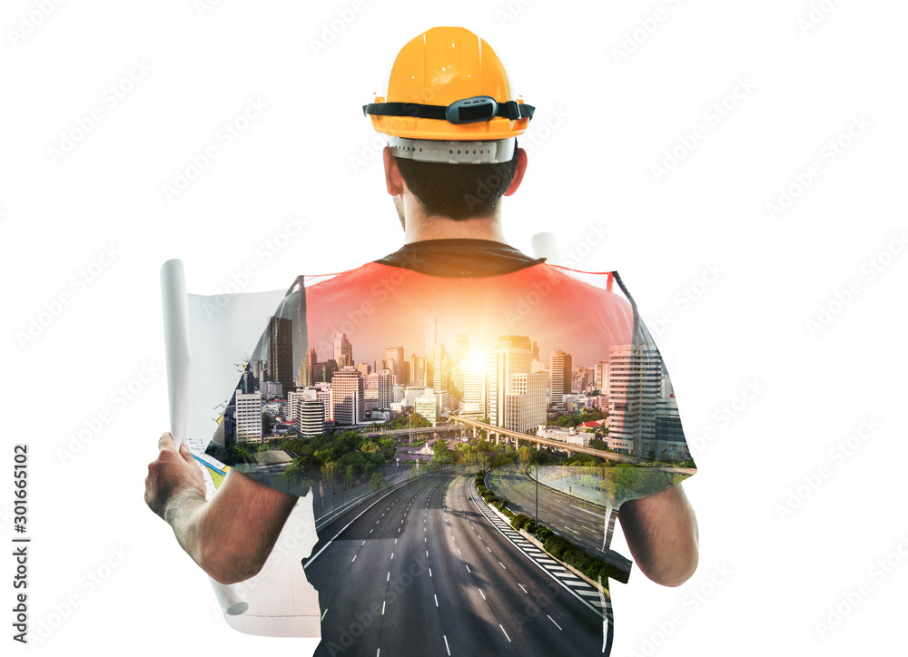 Fototapety, obrazy: Future building construction engineering project concept with double exposure graphic design. Building engineer, architect people or construction worker working with modern civil equipment technology.