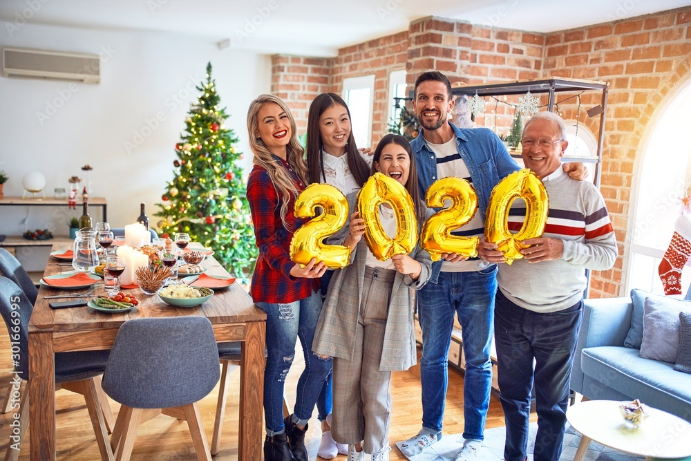Fototapety, obrazy: Beautiful family smiling happy and confident. Standing posing with tree holding balloons celebrating New Year at home