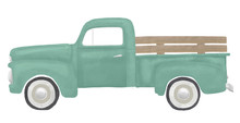 Green Watercolor Vintage Truck