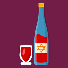 Wine With Glass  For Happy Hanukkah Celebration Concept Vector Illustration