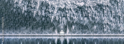 Poster Bergen Hut on Lake Plansee in Austria during Winter