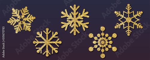 Fototapeta Set of Christmas snowflakes, different shapes. Golden snowflakes with golden dust and glitter. Isolated on dark background. Vector 3d illustration, EPS10. obraz