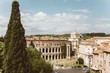 Panoramic view of city Rome with Roman forum and Theatre of Marcellus