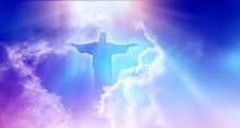 Jesus Appeared Bright In The Sky And Christian Cross With Soft Fluffy Clouds, White And Beautiful With The Light Shining As Hope, Love And Freedom In The Sky Background.