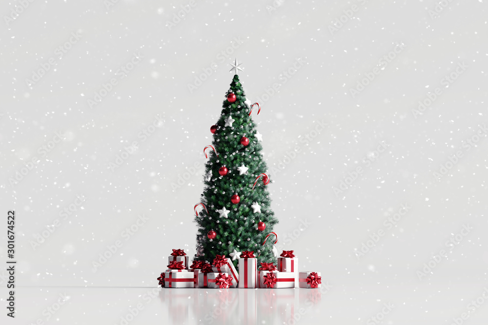 Fototapeta Falling snow and christmas tree with gift box on white background. 3d rendering