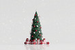 Leinwanddruck Bild - Falling snow and christmas tree with gift box on white background. 3d rendering