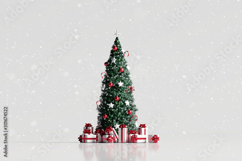 Fototapeta Falling snow and christmas tree with gift box on white background. 3d rendering obraz