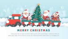 Merry Christmas , Christmas Celebrations With Santa And Cute Animals  For Christmas Card, Christmas Background  And Banner In Paper Cut And Craft Style .