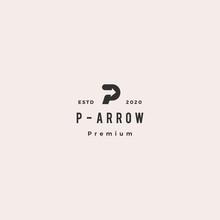 P Letter Logo Hipster Retro Vintage Arrow Icon Vector Illustration