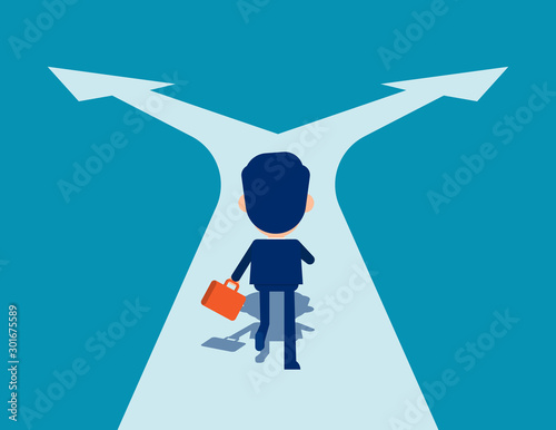 Man running on crossroads Fotobehang