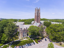 Aerial View Of Wellesley College Green Hall In Wellesley, Massachusetts, USA.
