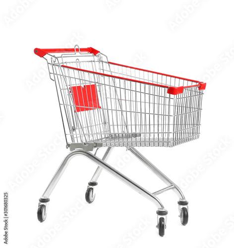 Cuadros en Lienzo Empty shopping cart on white background