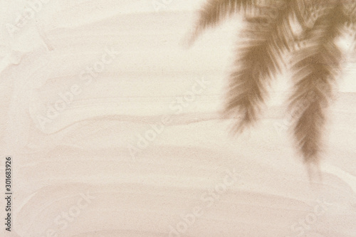 Tropical palm tree leaves shadows on the golden white sand