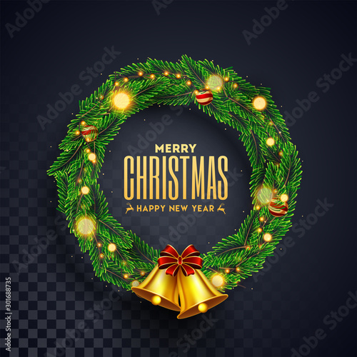 Fotomural  Christmas wreath with golden jingle bell on black transparent background for Merry Christmas & Happy New Year celebration