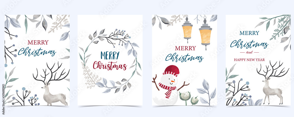 Fototapety, obrazy: Collection of Christmas background set with leaves,flower,reindeer.Editable vector illustration for New year invitation,postcard and website banner