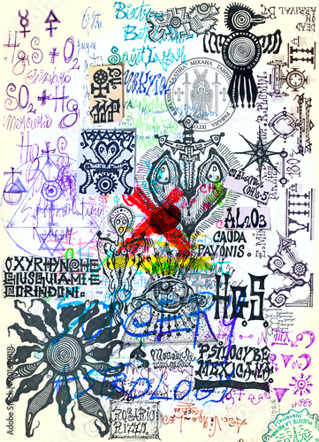 Recess Fitting Imagination Manuscripts with esoteric, scientific, astrological and alchemical symbols and designs. Mysterious pages of sketches, writings, and projects