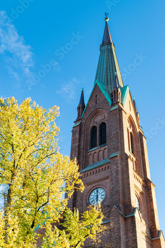 Steeple / Clock Tower of Historic Christian Church in Oslo, Norway (Autumn)