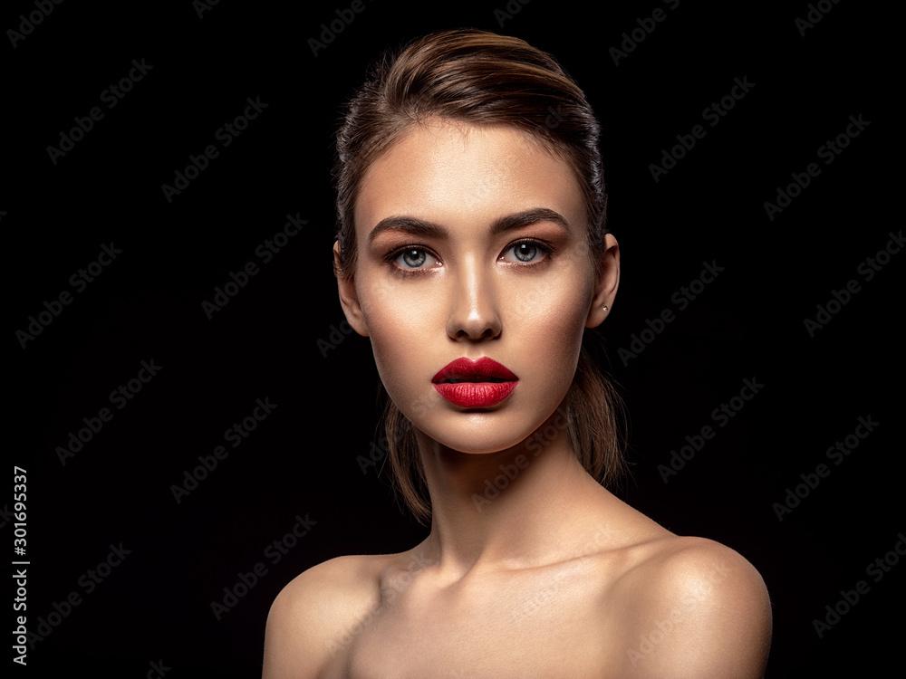 Fototapeta Beautiful  fashion woman with red lipstick. Pretty model.