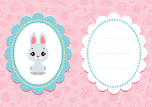 Pink Baby Card. Card With A Cute Bunny On Pink Floral Background. Some Blank Space For Your Text Included.