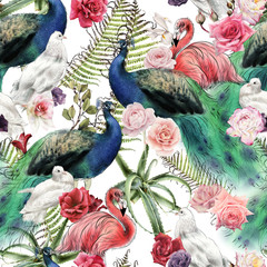 FototapetaSeamless floral pattern with birds, watercolor.