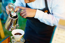 Japanese Barista Is Brewing The Drip Coffee Outdoor