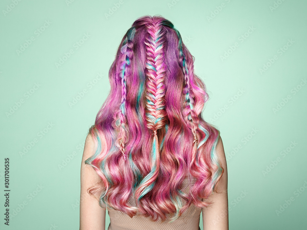 Fototapeta Beauty Fashion Model Girl with Colorful Dyed Hair. Girl with perfect  Hairstyle. Model with perfect Healthy Dyed Hair. Rainbow Hairstyles