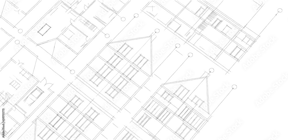 Fototapety, obrazy: house architectural project facades plan 3d illustration
