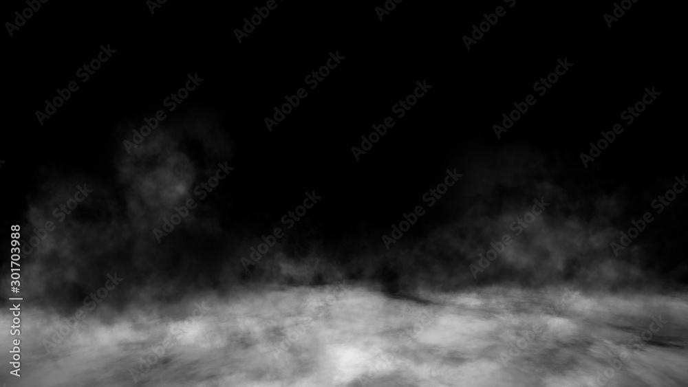 Fototapety, obrazy: Smoke on the floor . Isolated black background. Design element.