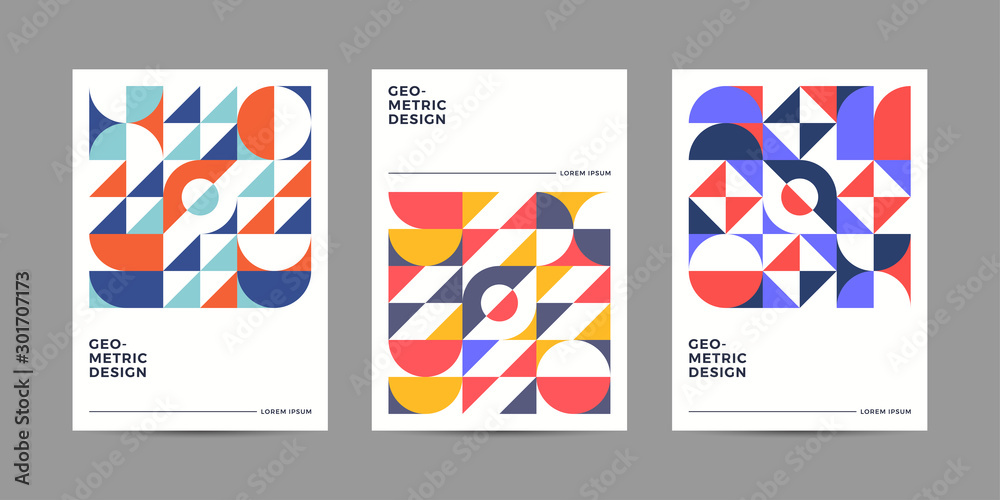 Fototapeta Placard templates set with Geometric shapes, Retro geometric style flat and line design elements. Retro art for covers, banners, flyers and posters. Eps10 vector illustrations