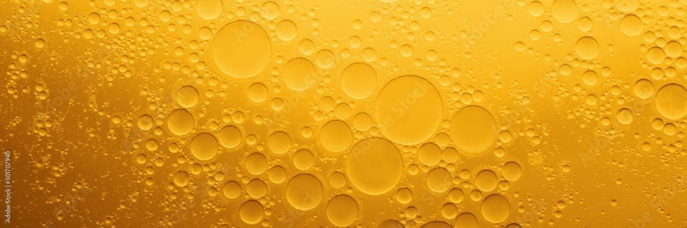 Fototapety, obrazy: Yellow coocing Oil bubble on water.