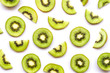 canvas print picture - Fresh sliced of kiwi fruit isolated on white background.Top view. Flat lay