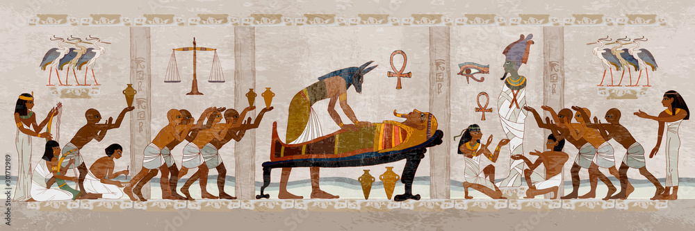 Fototapeta Ancient Egypt. Mummification process. Egyptian gods, mythology. Hieroglyphic carvings. History wall painting, tomb King Tutankhamun Concept of a next world. Anubis and pharaoh sarcophagus