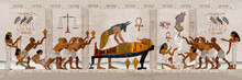 Ancient Egypt. Mummification Process. Egyptian Gods, Mythology. Hieroglyphic Carvings. History Wall Painting, Tomb King Tutankhamun Concept Of A Next World. Anubis And Pharaoh Sarcophagus