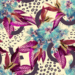Tropical seamless pattern. Watercolor illustration. Hand painted background.