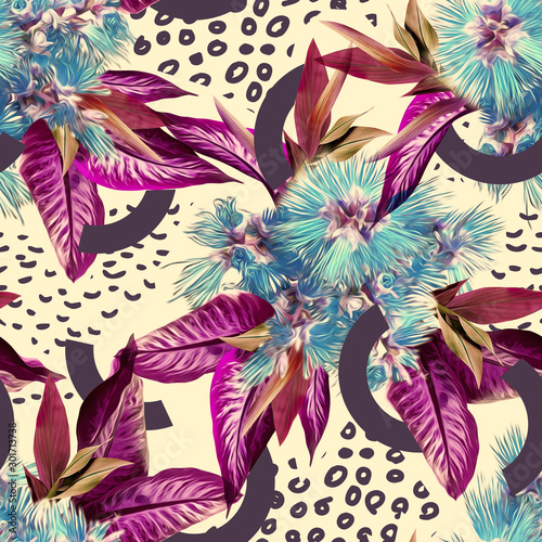 Fototapeten Künstlich Tropical seamless pattern. Watercolor illustration. Hand painted background.
