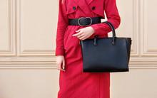 Autumn Trendy Woman In Red Coa...