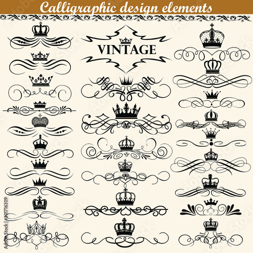 Obraz Illustration set of vintage calligraphic design elements with crowns. - fototapety do salonu