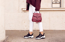 Woman In Fashion Sneakers With...