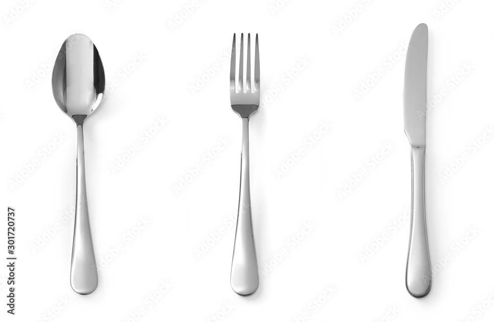 Fototapety, obrazy: Set of cutlery spoon fork and knife stainless steel isolated on white background