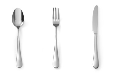 Set of cutlery spoon fork and knife stainless steel isolated on white background