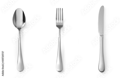 Cuadros en Lienzo Set of cutlery spoon fork and knife stainless steel isolated on white background