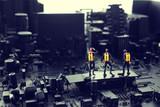 黒い破壊された街並み