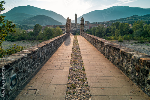 Theold medieval bridge of the famous italian borough of Bobbio, Piacenza province, Emilia Romagna, Italy Wallpaper Mural