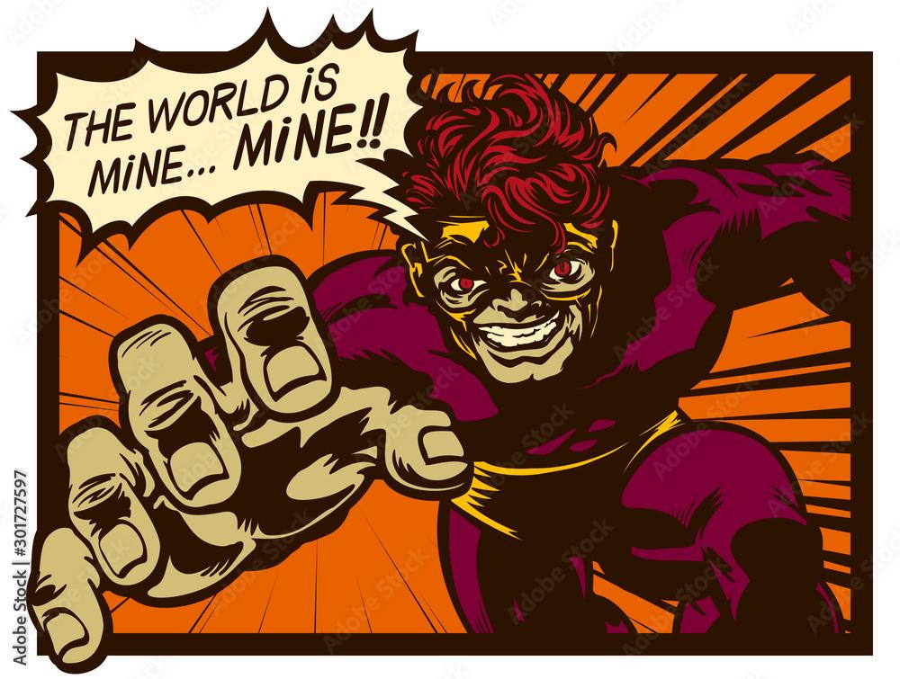 Vintage komiks złowrogi super złoczyńca z dymek planuje zły plan podbić i rządzić światem retro komiksy pop-art ilustracja wektorowa