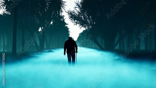 Foto auf AluDibond Turkis The old man got lost in the dark terrible mystical misty forest. Fabulous forest with tall fir trees in a thick fog. 3D rendering