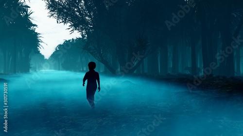 A little boy got lost in a dark scary mystical misty forest Fototapet