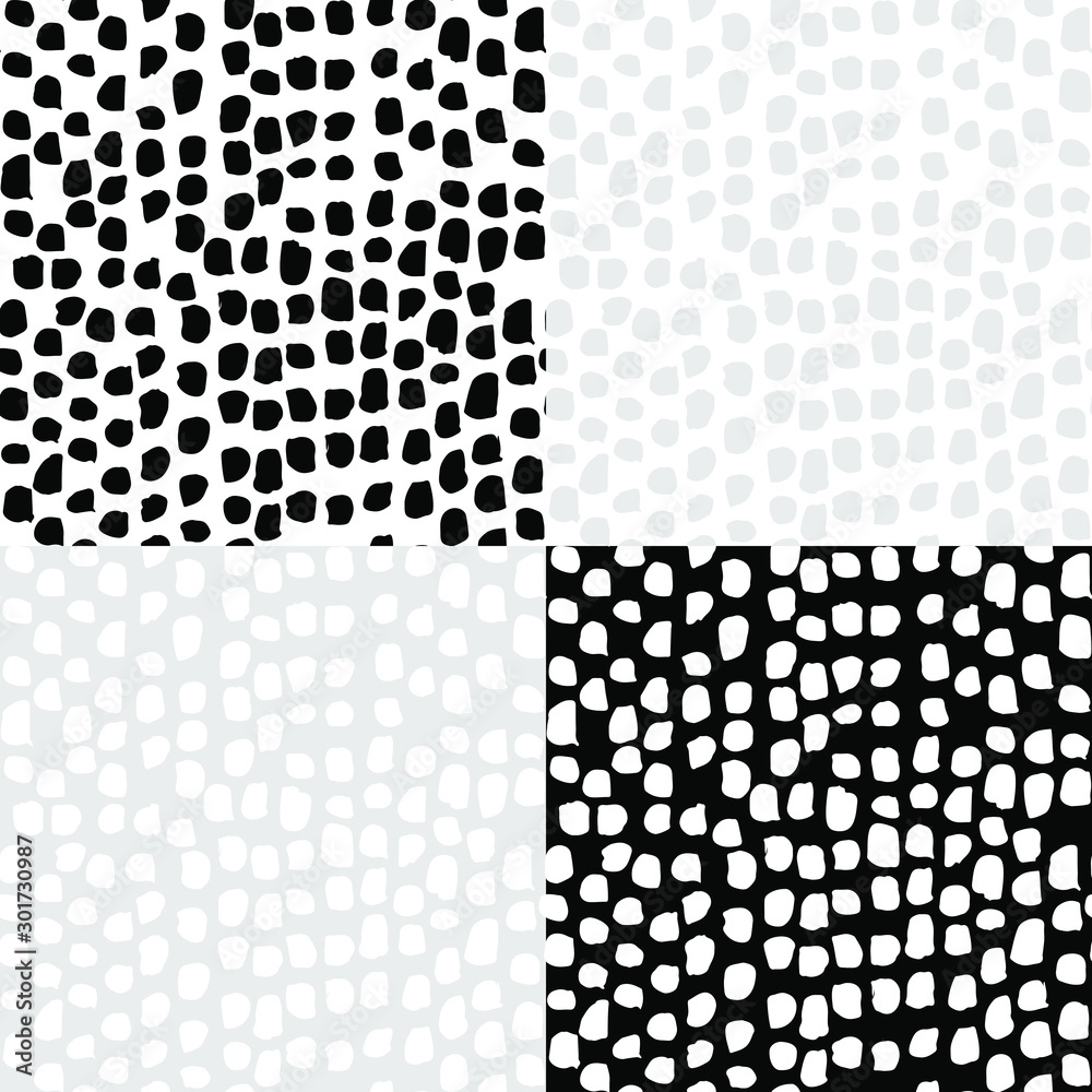 Fototapeta Set of seamless patterns with irregular black spots. Sketchy hand drawn graphic for design of fabric print, paper card, table cloth, fashion.