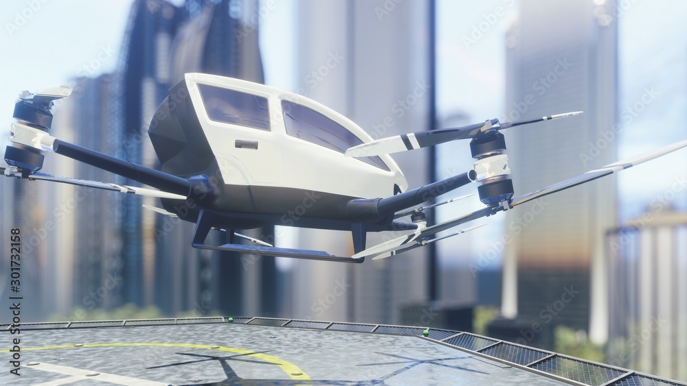 Fototapety, obrazy: Pilotless passenger air taxi makes a departure for the call of the client. The concept of the future unmanned taxi. 3D Rendering