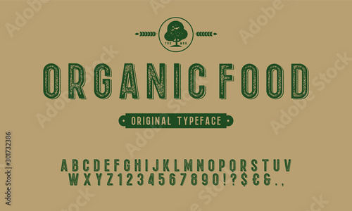 Fototapeta Hand Drawn Rustic Farm Fresh Vector Typeface.Organic alphabet with imprint effect. Retro grunge marker for organic packaging design. Stamp lettering.Vintage Retro Textured Decorative Type. obraz
